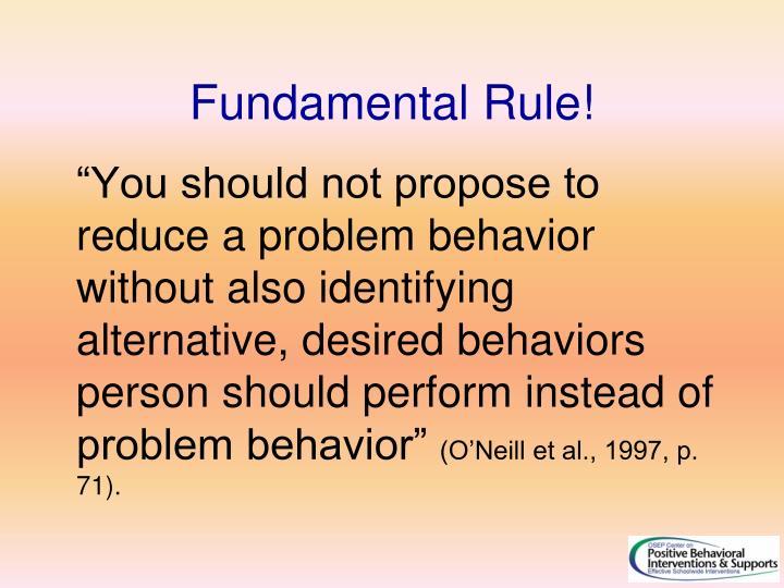 Fundamental Rule!