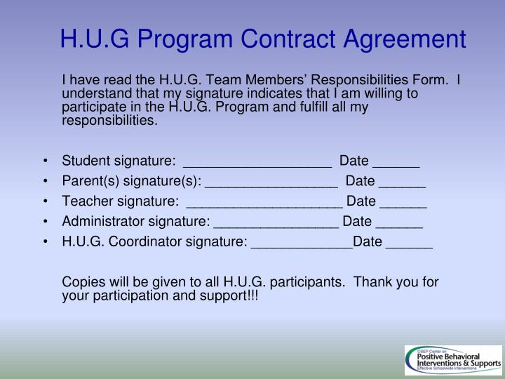 H.U.G Program Contract Agreement