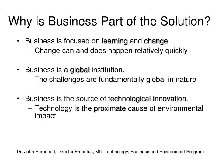 Why is Business Part of the Solution?
