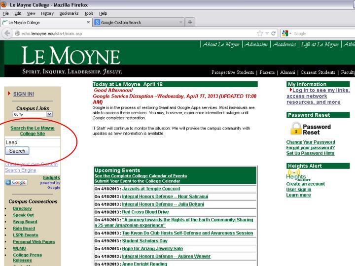 College internship database