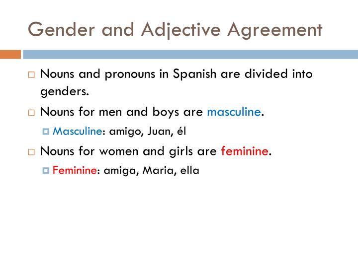 Ppt Gender And Adjective Agreement Powerpoint Presentation Id