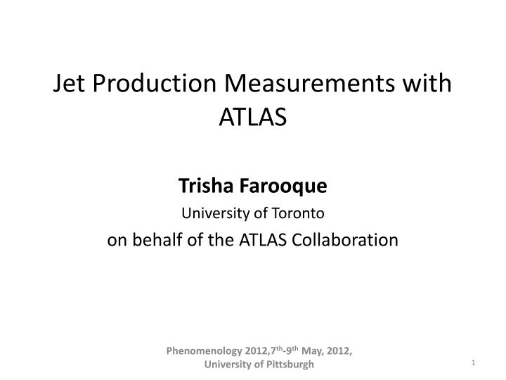 jet production measurements with atlas n.