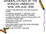 general causes of the spanish american war apr aug 1898