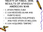 treaty of paris 1898 results of spanish american war