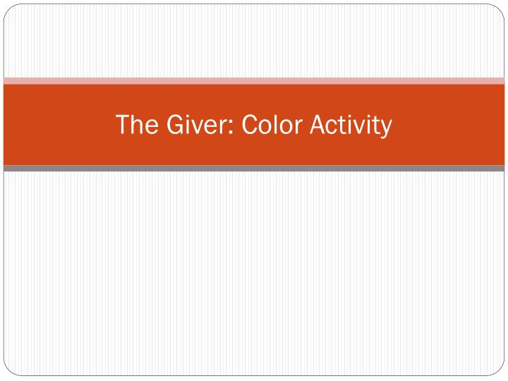 the giver color activity n.