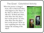 the giver colorblind activity