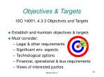 objectives targets