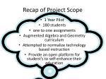 recap of project scope