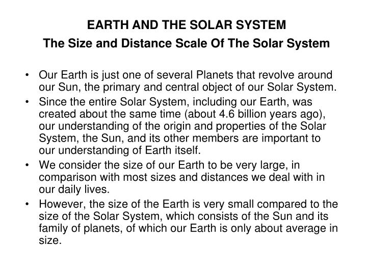 the size and distance scale of the solar system n.