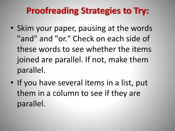 Proofreading Strategies to Try:
