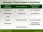 overview of three classes of assertions
