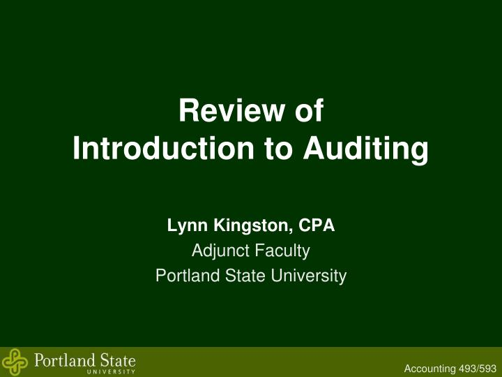 review of introduction to auditing n.