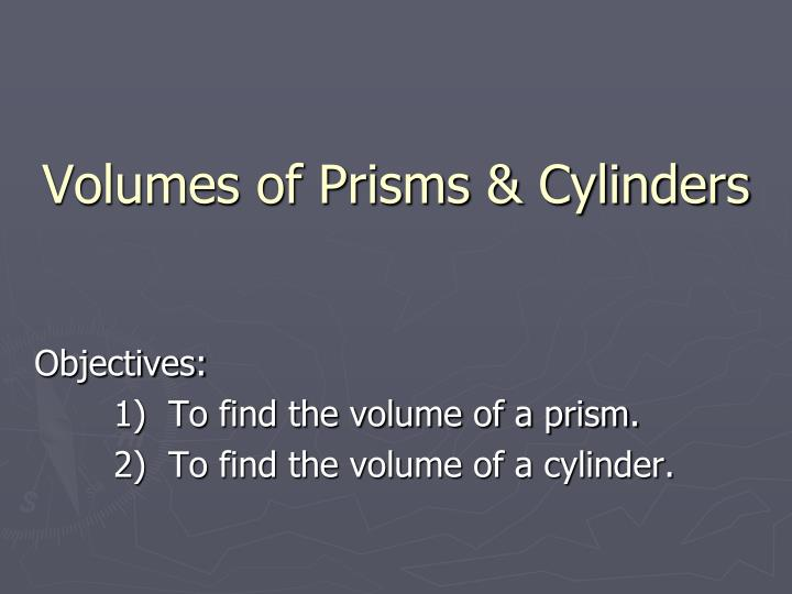 volumes of prisms cylinders n.