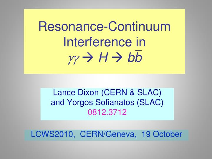 resonance continuum interference in gg h bb n.