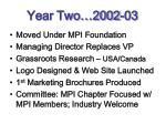 year two 2002 03