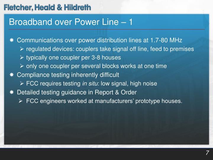 Broadband over Power Line – 1