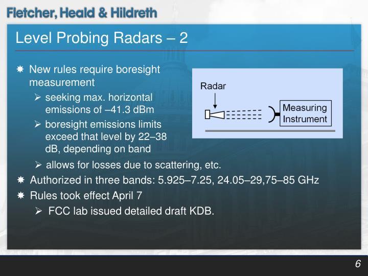 Level Probing Radars – 2