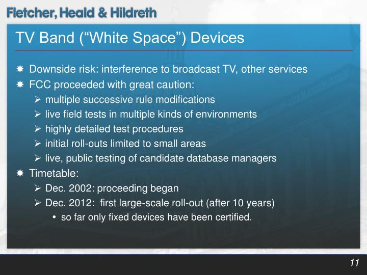 """TV Band (""""White Space"""") Devices"""