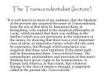 the transcendentalist lecture