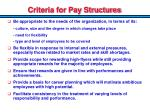 criteria for pay structures