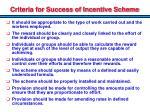 criteria for success of incentive scheme