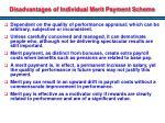 disadvantages of individual merit payment scheme