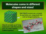 molecules come in different shapes and sizes