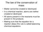 the law of the conservation of mass