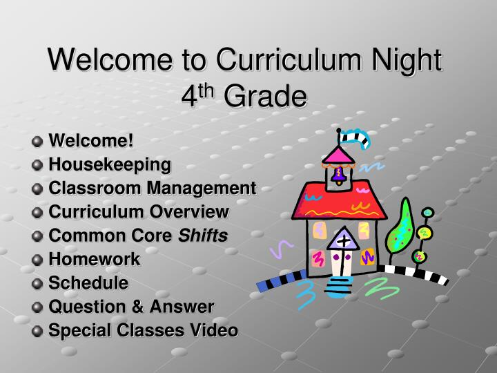 welcome to curriculum night 4 th grade n.