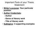 important parts of your thesis statement