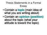 thesis statements in a formal essay