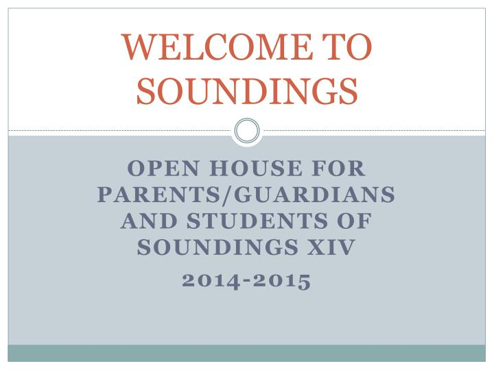 welcome to soundings n.
