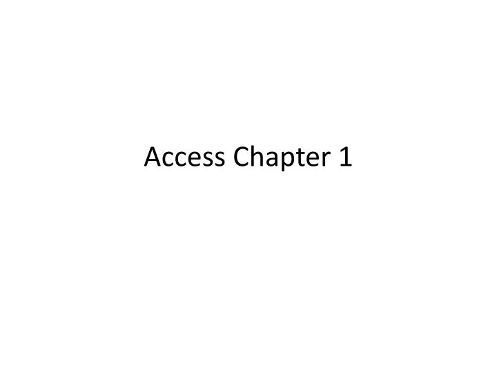 access chapter 1 n.