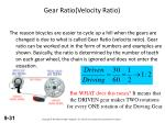 gear ratio velocity ratio1