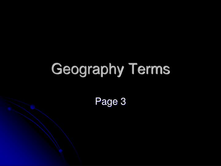 geography terms n.