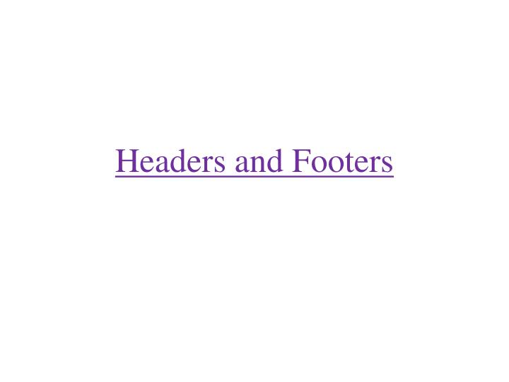 headers and footers n.