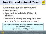 join the lead network team