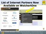 list of internet partners now available on weichertone