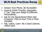 wln best practices recap