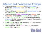 inflected and comparative endings