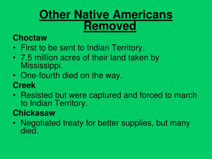 Other Native Americans Removed