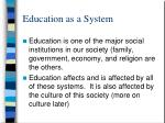 education as a system