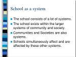 school as a system