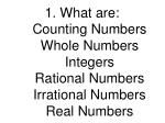 what are counting numbers whole numbers integers rational numbers irrational numbers real numbers
