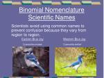 binomial nomenclature scientific names