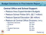 budget solutions in first interim report