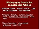 bibliography format for encyclopedia articles