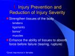 1 injury prevention and reduction of injury severity