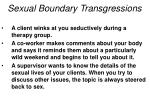 sexual boundary transgressions
