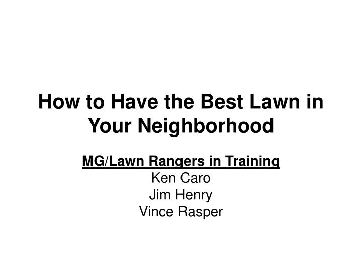 how to have the best lawn in your neighborhood n.